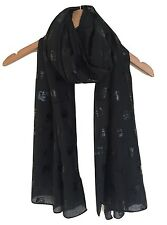 Femmes superbe noir en relief éléphant imprimé doux surdimensionné écharpe wrap AW16