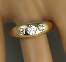 Men's Gents Antique Victorian 18Ct Gold With Three Stone Diamond Ring 0.70carat