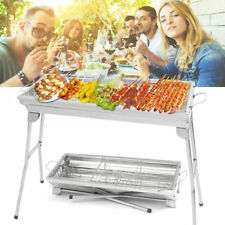 Large Stainless Steel Folding BBQ Charcoal Barbecue Grill Garden Picnic Cooking