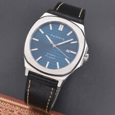 NEW 45mm PARNIS Rose Gold Sapphire Crystal Leather strap Automatic Mens Watch