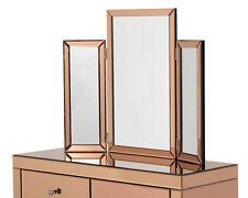 Tri-Fold Mirror Venetian Dressing Table Bedroom Vanity Mirror In Rose Gold