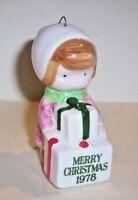 Vintage 1978 JAPAN Christmas Ornament Joan Walsh Anglund CHRISTMAS GIRL Ceramic
