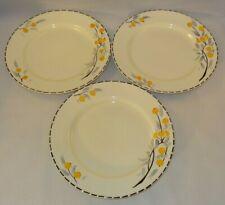 "3 Crown Ducal Art Deco Orange Fruit Grey Leaves 9"" Dessert Salad Plates c1930"