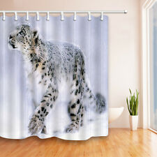 Snow Leopard Waterproof Polyester-Fabric Shower Curtain & 12hooks 72*72in