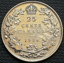 1936 DOT Canada Silver 25 Cent Quarter, Fine / Very Fine Condition - Dot Variety