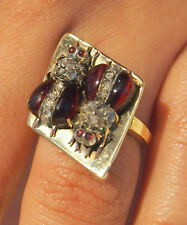 RING 2 BEE DESIGN RARE & OLD CUT DIAMONDS & RUBY GORGEOUS DETAILS-7.7GR-SIZE:6.5
