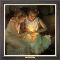 "Hand-painted Original Oil painting art Impressionism two girl on Canvas 30""x30"""