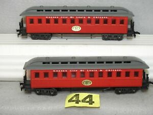 SET OF TWO POOCHER HO KANSAS CITY ST LOUIS & CHICAGO OLD TIME PASSENGER CARS NEW
