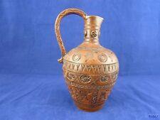 Stamped Brown Ceramic Jug Vase Handmade in Greece