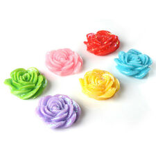 150x Mixed Color Flatback Crystal Pink Rose Resin Embellishment Stick-on 20mm BS