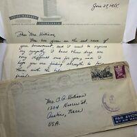 1955 HOTEL MARHABA CASABLANCA MOROCCO COVER & LETTER TO AUSTIN, MISSENT HOUSTON