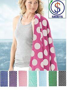 Carmel Towel Company Polka Dot Velour Beach Towel C3060P, 100% cotton velour NEW