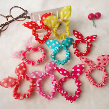 10pcs Lots Girls Rabbit Bunny Ear Ribbon Wire Headband Hair Tie Head Bow Cool