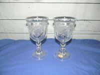Vtg Avon 1978 Fostoria Heart Diamond Clear Wine Glass Goblet Candle Holder Set 2