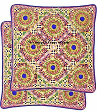 Indian Cotton Embroidered Cushion Cover Ethnic Pink Pillow Case Decor 2 PCs Set