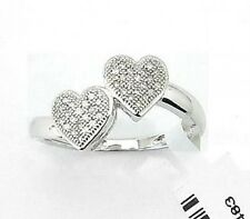 10K White Gold Diamond Ring Micro Pave Diamond Dual Heart Cluster Ring .10ct