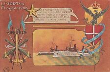 A2850) LIVORNO 1905, DONO DELLA BANDIERA DI GUERRA ALLE NAVI AGORDAT E COATIT.
