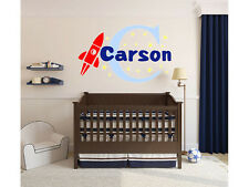 """Personalized Rocket Wall Decal Name Monogram #3 Kids Vinyl Sticker 15"""" Tall"""