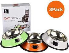 Cat Bowls Stainless Steel Pet Cat Bowl Kitten Rabbit Cat Dish Bowl 3 Pack
