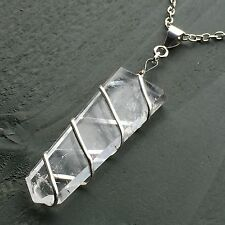 Clear Quartz Wrapped Flat Polished 6 Facet Point Obelisk Pendant Reiki Chakra