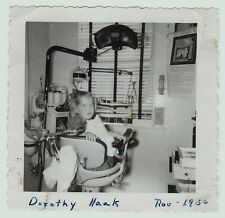SUPER Orig Snapshot Photo ID'd Young Girl in Dentist Chair - 1950 - Not Happy