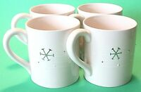 Set of 4 Porcelain Snowflake Cups Mugs White Christmas Made in Portugal NWOT