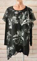 Swish Georgette Layer Top Tunic Size 18 Black White Floral Long Sleeve NWT