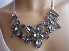 STRASS Collier Damen Hals Kette kurz Modekette Silber Blumen Blüte Statement f56
