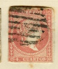 SPAIN;  1855 classis Isabella Imperf issue fine used 4c. value