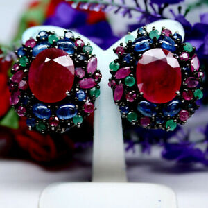 NATURAL 13 X 16 mm. OVAL RED RUBY EMERALD & SAPPHIRE EARRINGS 925 SILVER