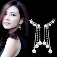925 Silver Women Natural Crystal Pearl Tassel Long Earrings Ear Drop Jewelry