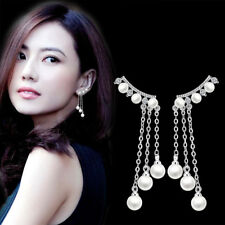 925 Silver Women Natural Crystal Pearl Tassel Long Earrings Ear Drop Jewelry