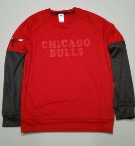 adidas Men Chicago Bulls Red Gray Long Sleeve Basketball Sweatshirt BK1659 Sz L