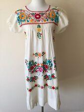 Vintage Mexican Peasant Dress White Cotton Multicolor Embroidery est. Small