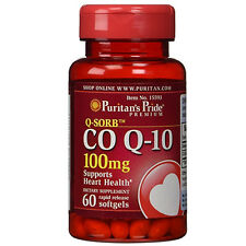 Puritan's Pride CoQ10 CO Q-10, CoQ-10, 100 mg 60 Softgels Q-Sorb™ Coenzyme Q-10