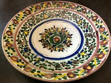 Grand plat ceramique ancienne peinte a la main Teheran Iran
