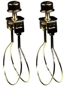 2 Clip On Bulb Lamp Shade Holder Adapters And Finial Cap Shade Holder Knobs