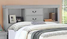 Grey Wooden birch Veneer Cal king Size Bed 1pc Bedframe Bedroom Furniture HB FB