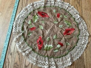 Antique Arts & Crafts Mission Stickley Style Poppies Linen Embroidery Textile