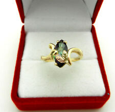 Solid 10k Multi-Tone Gold Marquise Mystic Topaz Ladies Ring