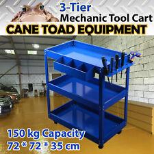 Mechanic Trolley 3-Tier Tool Cart 150kgs Load All Metal Workshop Blue