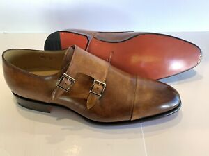 Santoni Double Monk Brown Leather Goodyear Welt Dress Shoes UK 10 (US 11) $950