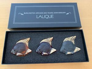LALIQUE LTD EDT SET OF 3 FISH 24k GOLD STAMPED N0 199 of 200. BURLINGTON ARCADE