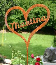 Herz auf Stab mit Wunschname Edelrost Gartendeko Gartenstecker Metall Rost