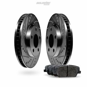 Front Black Drilled Slotted Brake Rotors Disc and Ceramic Pads For Sky,Solstice