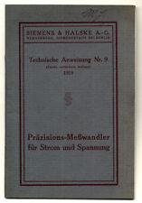 Berlin Siemens Elektrotechnik Meßwandler für Strom Anlagen Handbuch 1919