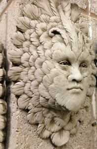 Greenman wall ornament face plaque,Garden stone Feather face life like looks