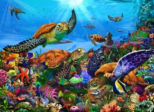 Undersea Sea Turtles Tropical Fish Reefs Ceramic Tile Mural Backsplash Medallion