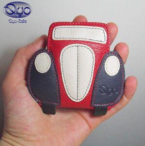Bolso de Mano Monedero Auriculares Mickey Piel Auténtica Bolsita Talón Azul Rojo