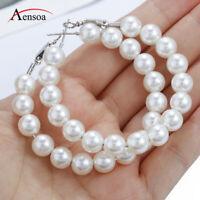 Fashion Circle Pearl Hoop Statement Geometric Dangle Drop Earrings Lady Jewelry